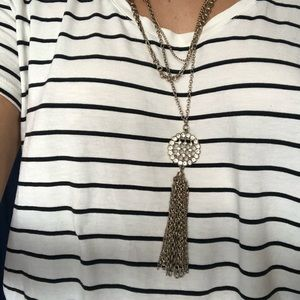 J.Crew Gold/Diamond Triple Chain Tassel Necklace
